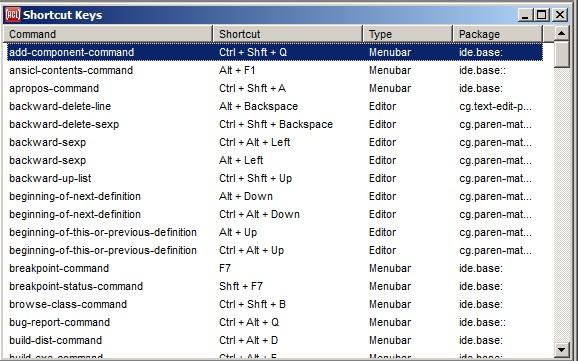 shortcut keys dialog